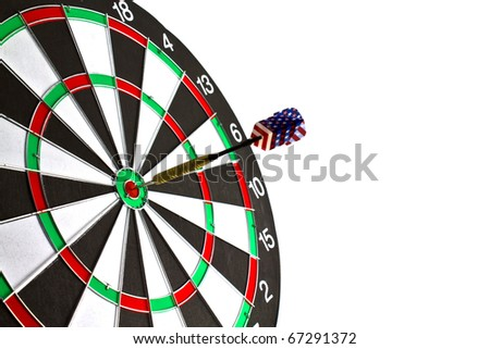 Dartboard with dart on white background. - stock photo