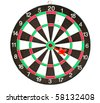 Dartboard with red Dart isolated on white background - stock photo