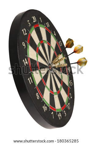 dartboard with three darts on bullseye  - stock photo
