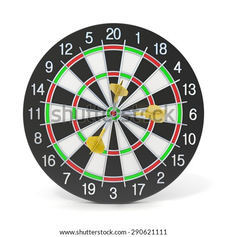 Dartboard with three orange darts on bullseye. Front view. 3D render illustration isolated on white background - stock photo