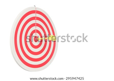 Dartboard with yellow dart at the center isolated on white background