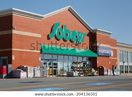 DARTMOUTH, CANADA - MAY 29, 2014: Sobeys supermarket. Sobeys is Canada's second largest food retailer. Headquartered in Stellarton Nova Scotia, Sobeys operates in all Canadian provinces. - stock photo