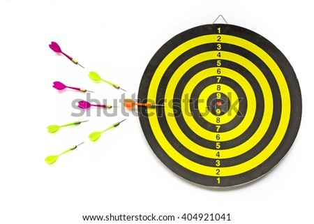 Darts and target on isolated / concept represents a bigger target selection - stock photo