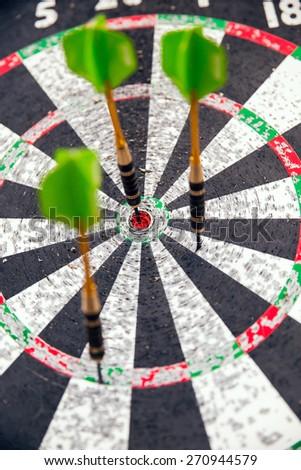 Darts and three arrows for darts - stock photo