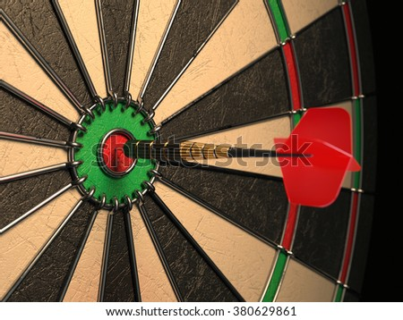 Darts arrow in the target center, darts in bull's eye close up. Success hitting concept 3d illustration - stock photo