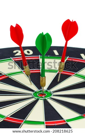 Darts arrows in the target center isolated on a white background.