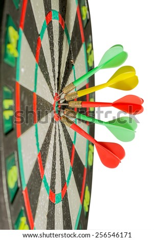Darts arrows in the target center. isolated over white - stock photo