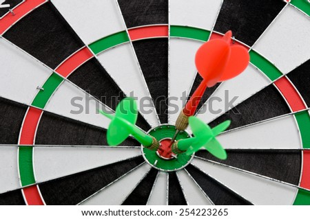 Darts board game. With Target sign - stock photo