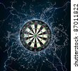 Darts Board in Fire and Water Isolated on Black Background. - stock photo