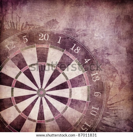 Darts Board in Old Paper Textured Background. - stock photo