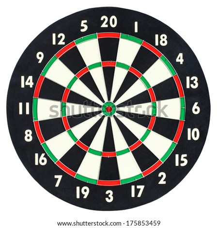 Darts board isolated on white background. Classic dartboard with twenty black and white sectors - stock photo