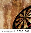 darts board shown in perspective on a grunge background - stock vector