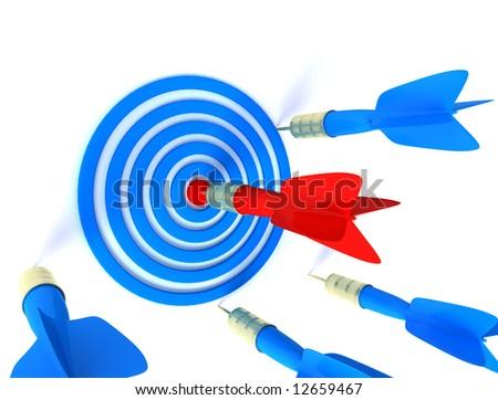 darts board with arrow hitting the center - stock photo