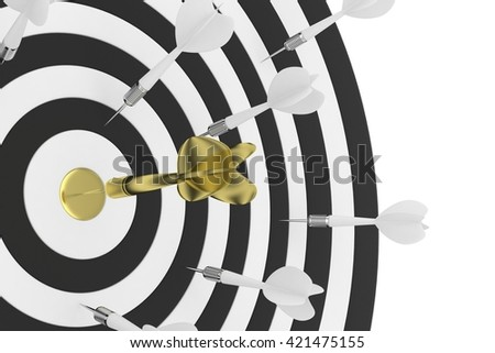 Darts board with golden center and arrow on white background. 3D rendering. - stock photo