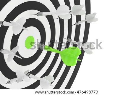 Darts board with green center and arrow on white background. 3D rendering.