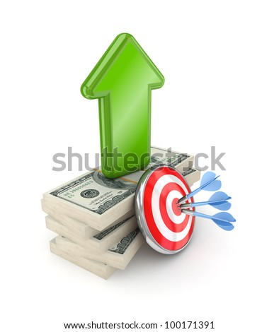 Darts, dollar packs and green arrow.Isolated on white background.3d rendered. - stock photo