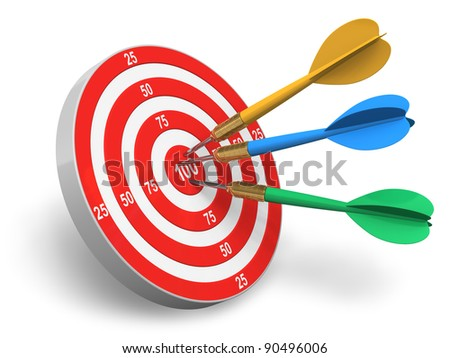 Darts game: red circle target and color arrows isolated on white background