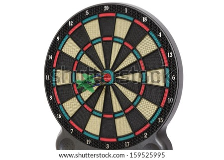 Darts game, triple bull eye, good but not perfect - stock photo