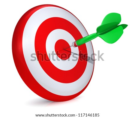 Darts hitting a target - isolated on white - stock photo