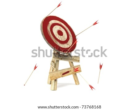 darts hitting directly in bulls eye. 3d render - stock photo