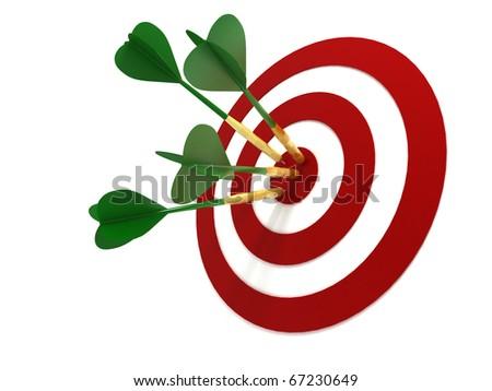 Darts Hitting Target Isolated on White Background - stock photo