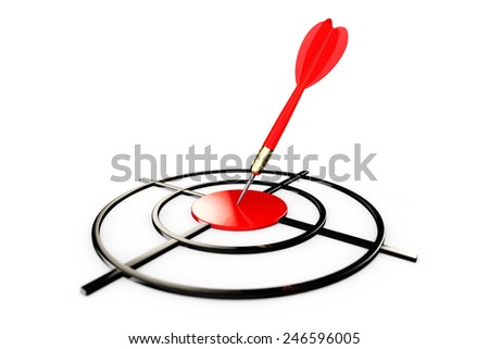 Darts Hitting The Target on a white background - stock photo