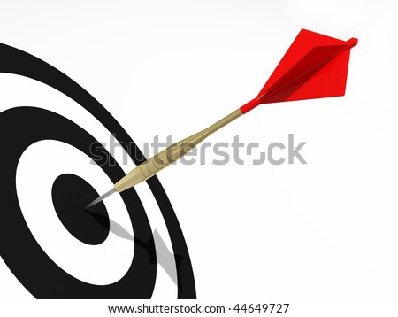 Darts on the black target. Concept for business success and marketing - stock photo