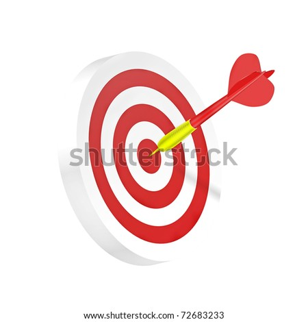 Darts symbol of strategy or business success (isolated on white background)