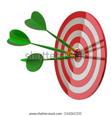 Darts target aim with three arrows in the center 3d - success concept