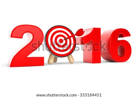 Darts Target as 2016 year Sign on a white background - stock photo