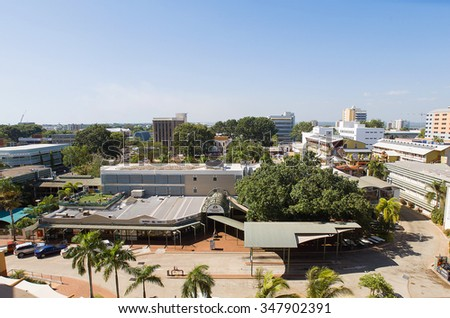 Darwin, Northern Territory-July 12, 2005. Elevated view of the skyline of Darwin, capital city of the Northern Territory, top end of Australia
