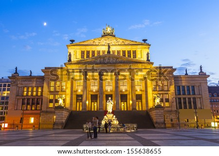 Das Konzerthaus (1821) theatre residing in the picturesque Gendarmenmarkt paved neoclassical square popular with both Berliners and tourists in this beautiful area of Berlin.