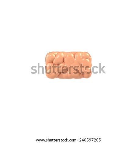 Dash. Brain alphabet isolated on white background.Brain font.  - stock photo