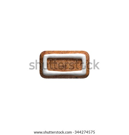 Dash. Gingerbread font. Christmas cookies alphabet. - stock photo