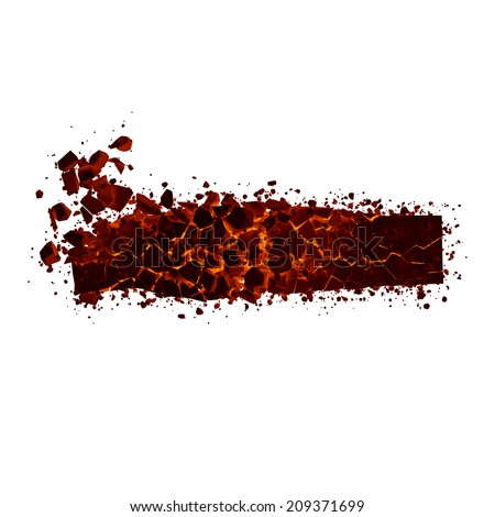 Dash. Red burning fire alphabet isolated on white background. - stock photo
