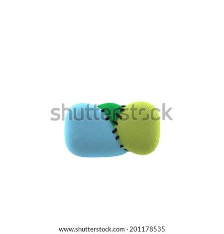 Dash. Textile toy font  isolated on White Background. - stock photo