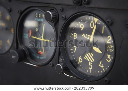 Dashboard altimeter detail of an airplane. Horizontal - stock photo