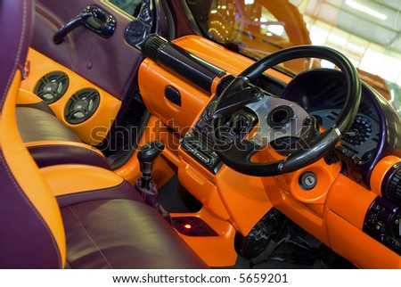 Dashboard and interior of modified car - stock photo
