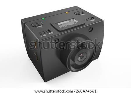 Dashboard camera?? DVR isolated on white background - stock photo