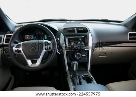 dashboard, car interior - stock photo