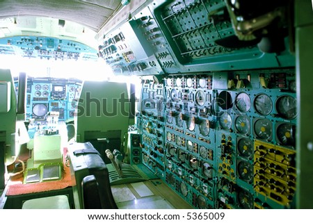 dashboard in a cabin of a civil airplane - stock photo