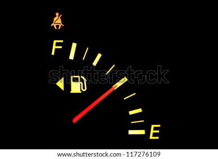 Dashboard indicator showing fuel half tank - stock photo