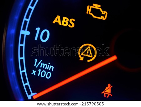 Dashboard lights - stock photo