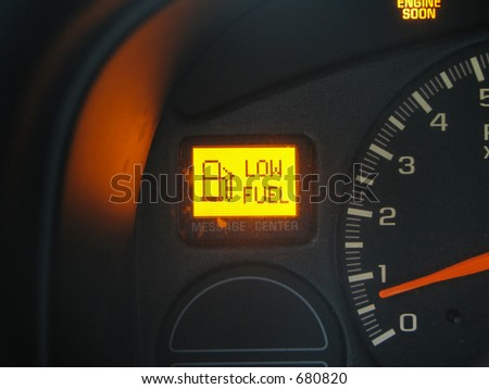 Dashboard Low Fuel - stock photo