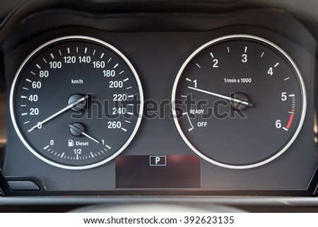 Dashboard of a modern car with a mileage
