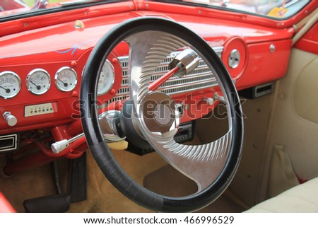Dashboard of a vintage sports car