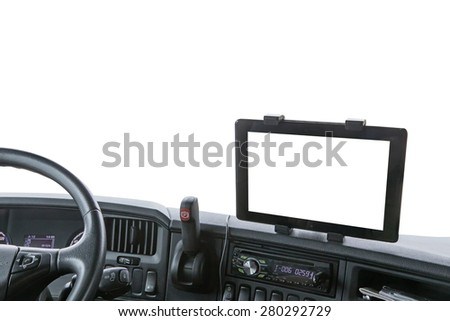 Dashboard of the truck isolated on the white background. Navigation display is ready for your text. - stock photo