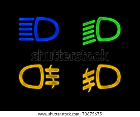 Dashboard Signs - car lights isolated on black - stock photo