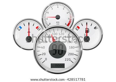 Car Dashboard Speedometer Tachometer Fuel Gauge Stock Vector - Car signs on dashboardcar dashboard signs speedometer tachometer fuel and temperature