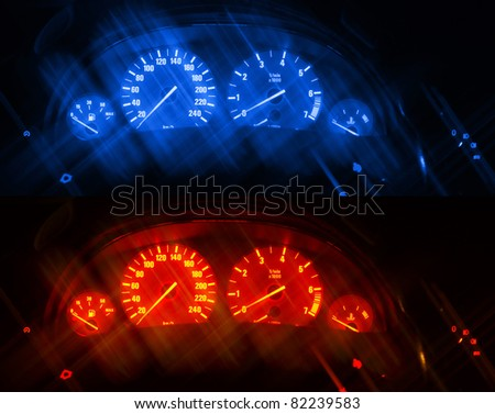 Dashboards of a modern car with artificial blurred lines. Two same images different toned - stock photo